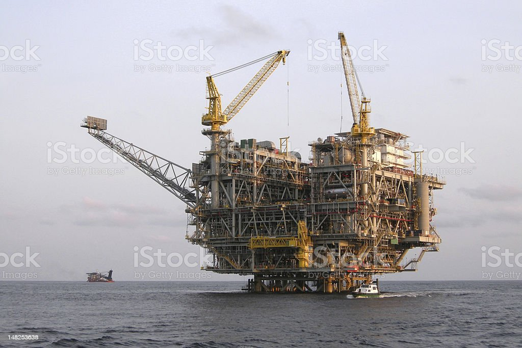 Oil Platform offshore Angola stock photo