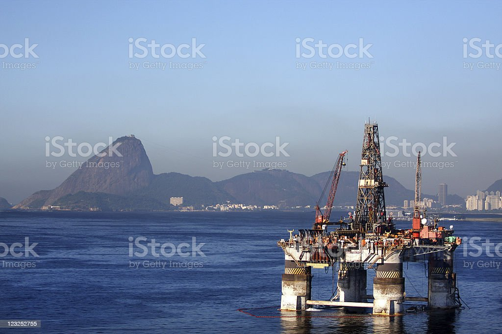 Oil platform offshore stationary in Rio royalty-free stock photo