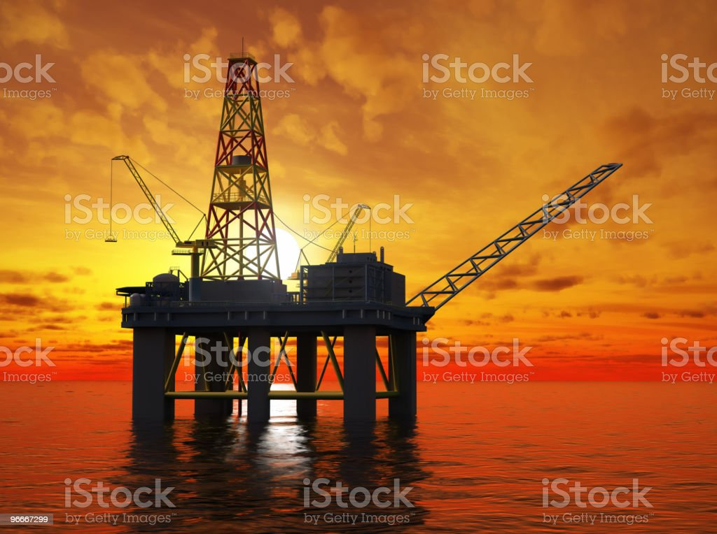 Oil platform on the sea. stock photo