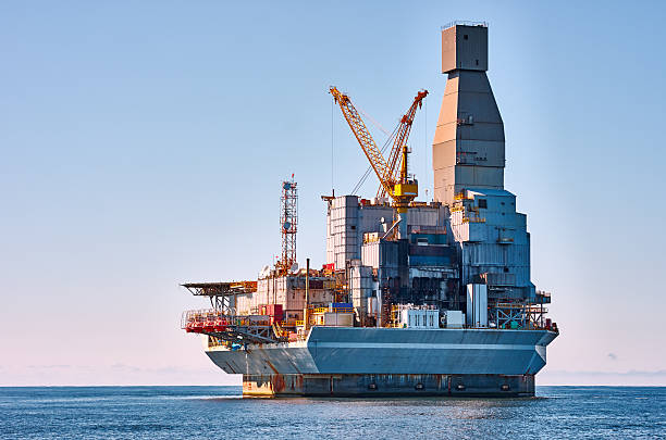 oil platform - pillar drill stock photos and pictures