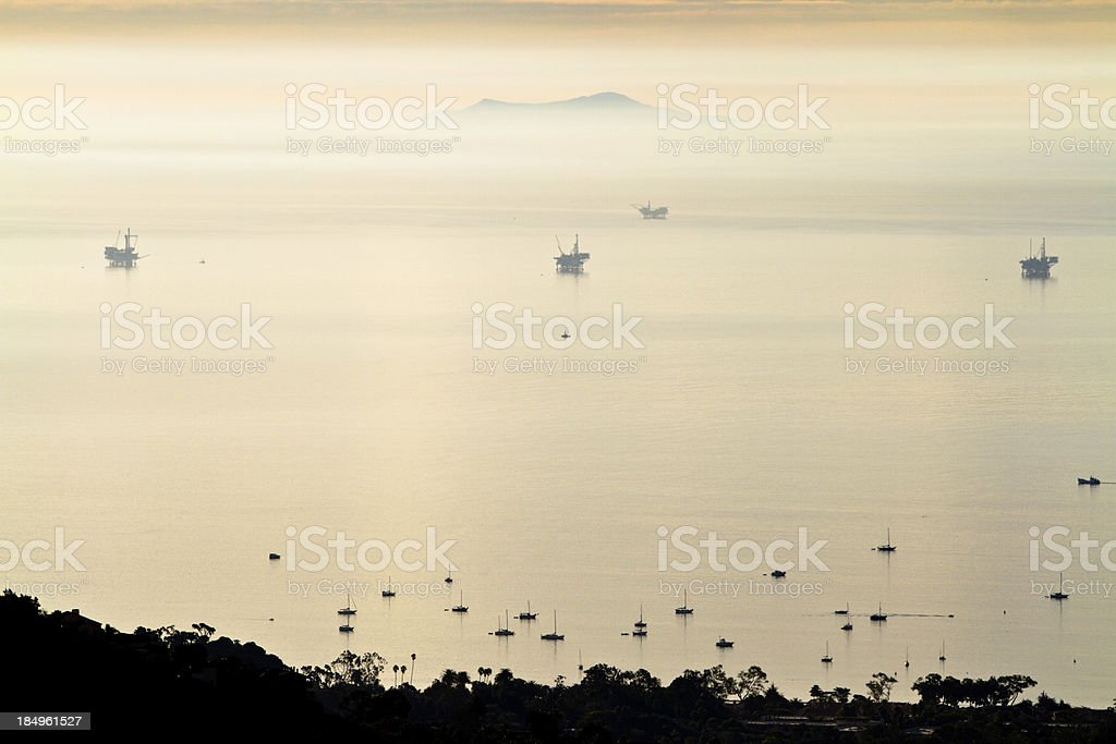 Oil platforms off the coast of Santa Barbara California royalty-free stock photo