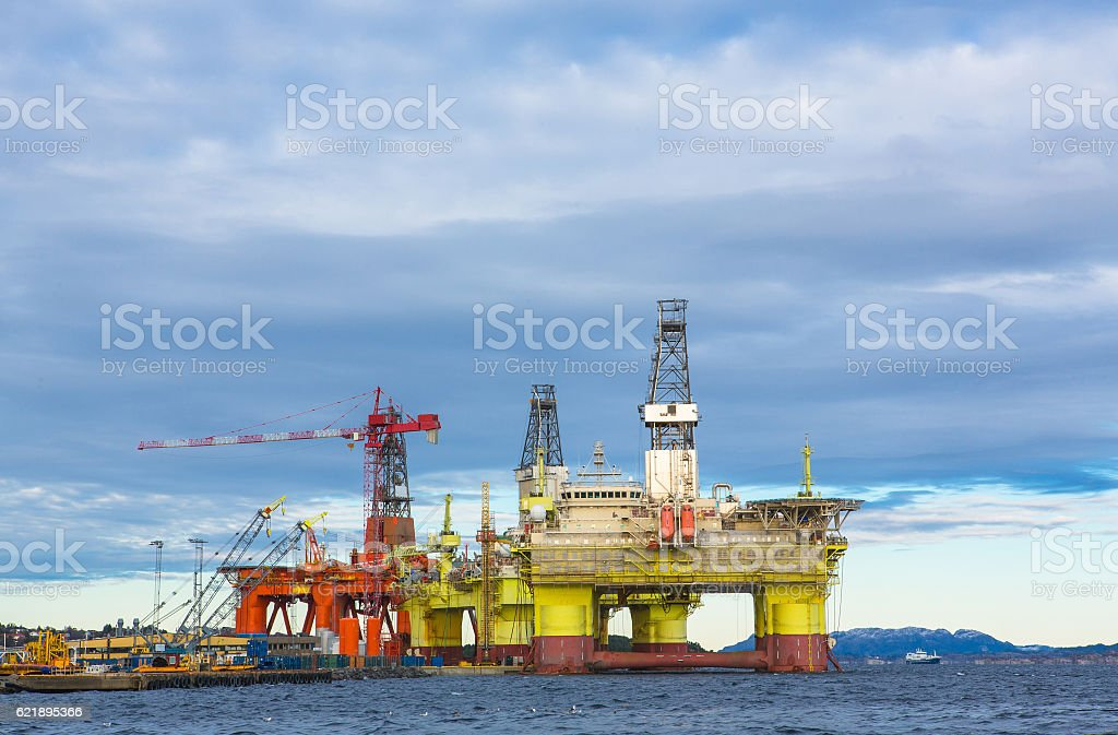 Oil platforms under maintenance stock photo