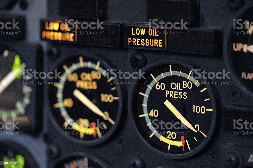 Oil Pressure Indicators Boeing 737-300 royalty-free stock photo