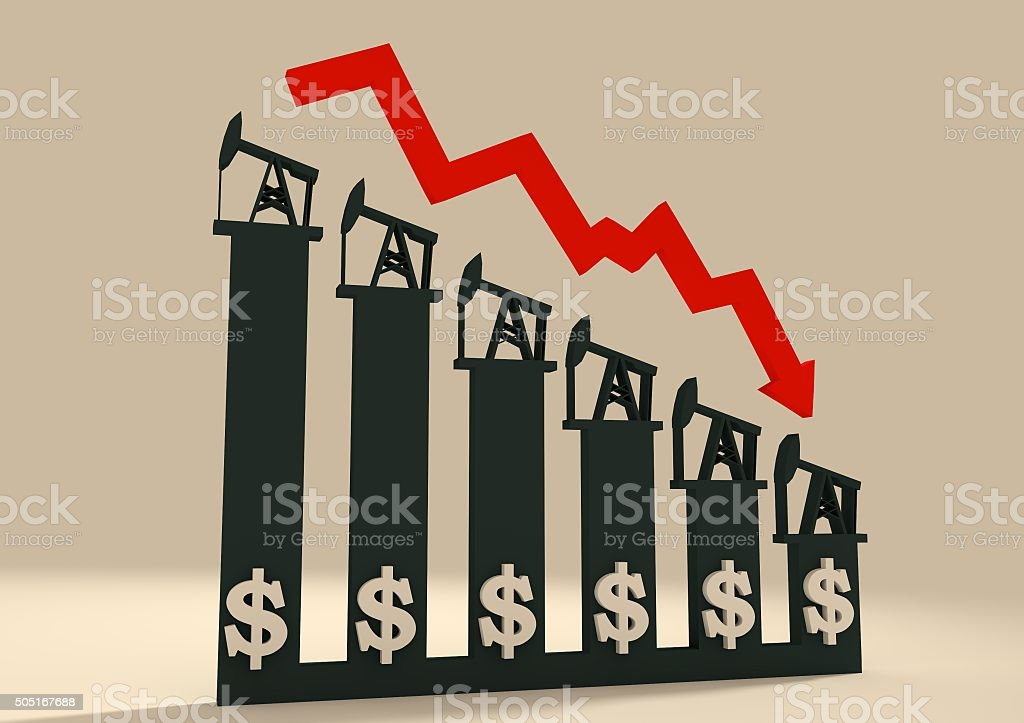 Oil price fall graph illustration. Pump and dollar icons stock photo