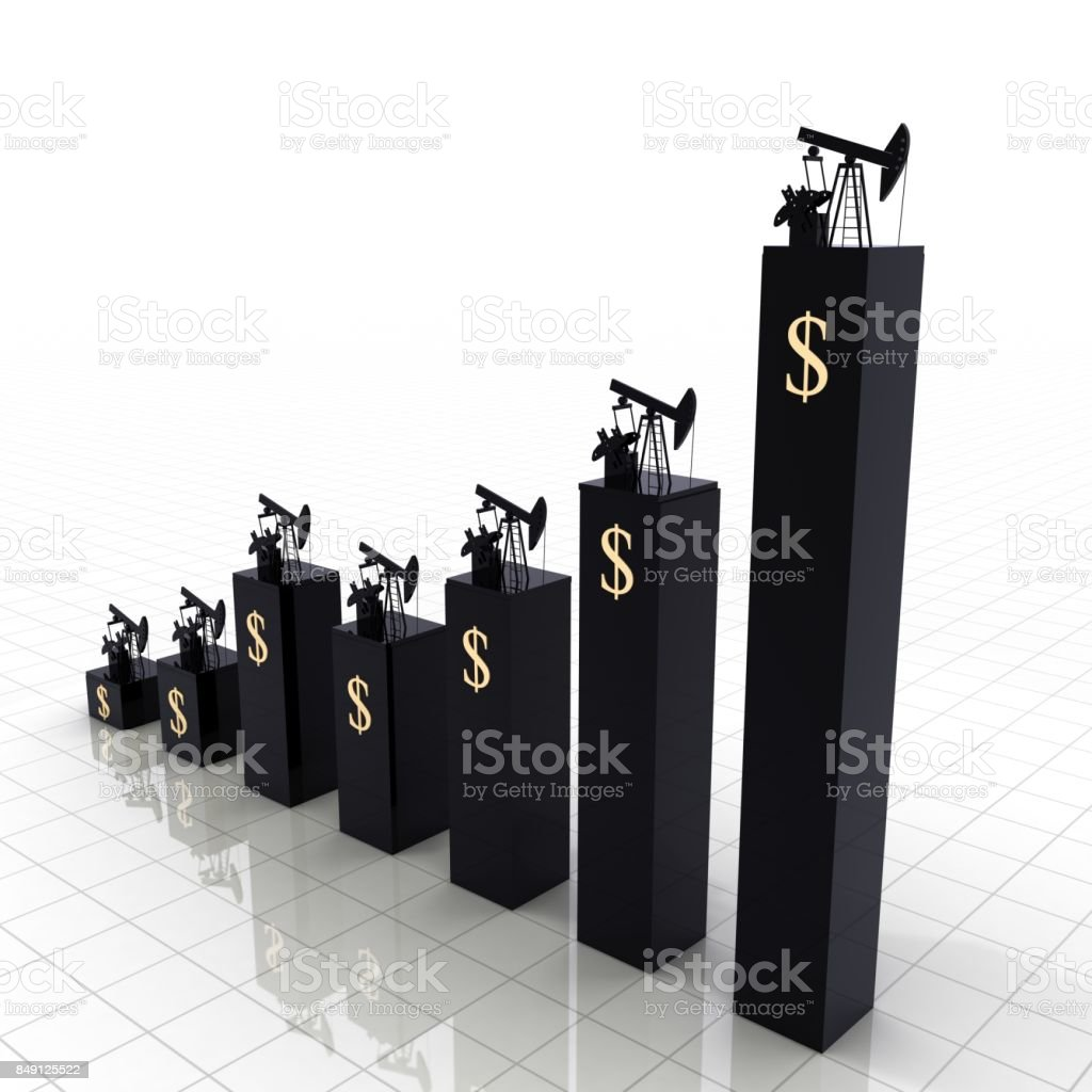 Oil price growth chart graph stock photo