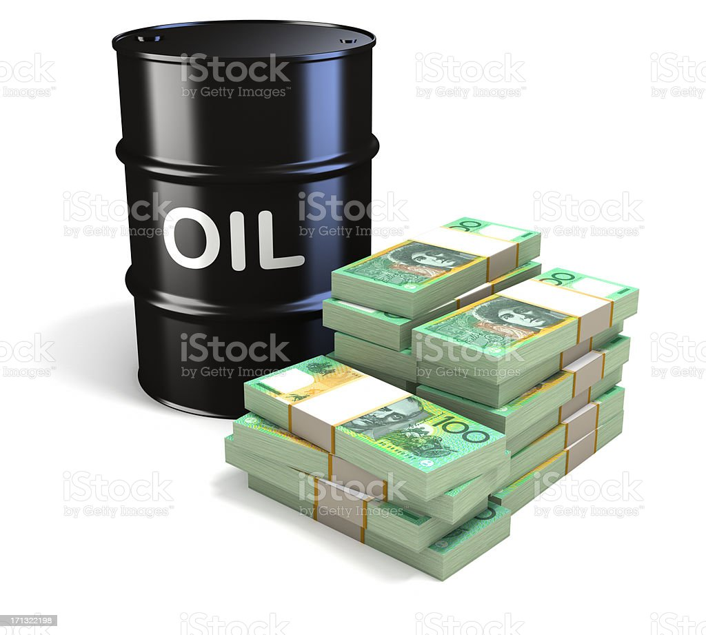 Oil prices and Australian Dollars royalty-free stock photo