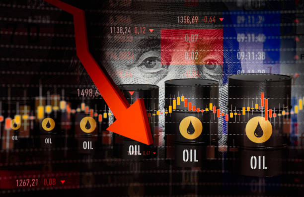 oil prices moving down - crude stock pictures, royalty-free photos & images