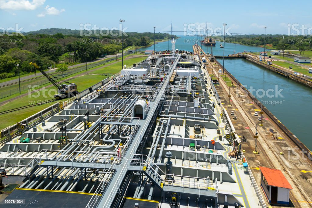 Oil product tanker is in Gatun lock of Panama Canal. - Royalty-free Backgrounds Stock Photo