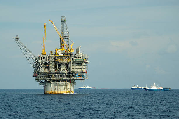 Oil production platform and seismic vessels