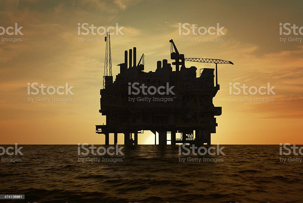 Oil production platform stock photo