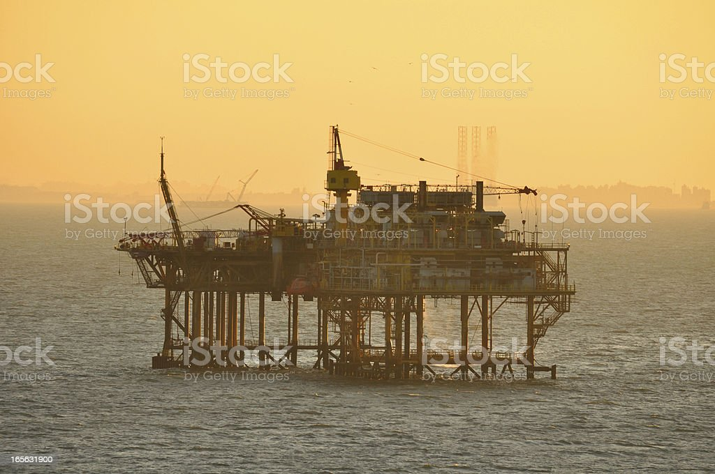 Oil Production Platform Silhouette royalty-free stock photo