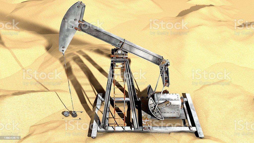 Oil Pump in Desert (3D render) royalty-free stock photo