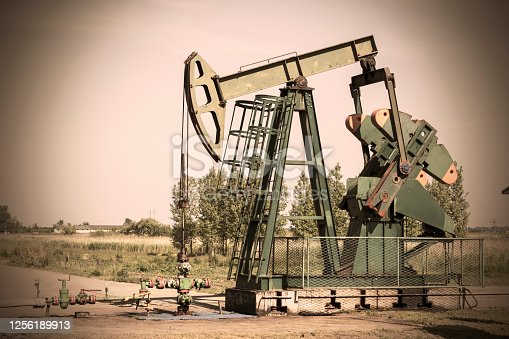 Oil pump, industry equipment in a rape chain. Oil productio