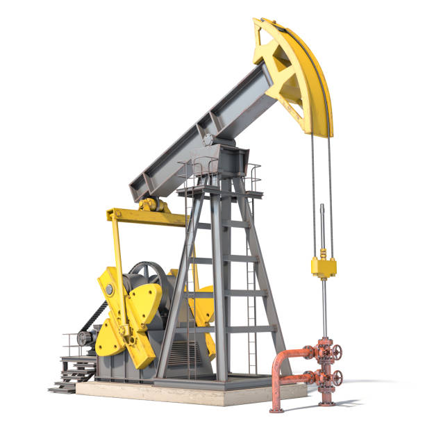 Oil pump jack isolated on white background. stock photo