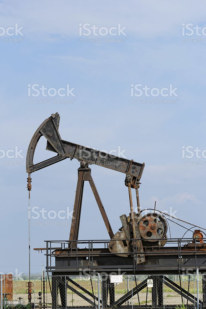 Oil pump jack royalty-free stock photo