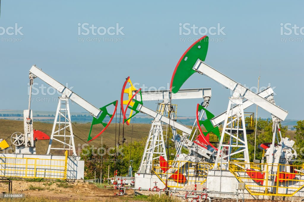 oil pump. Oil industry equipment. filtered picture of oil pump jack....