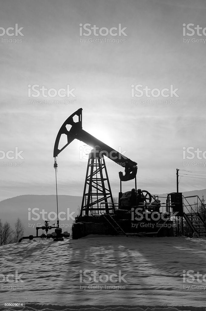 Oil pump. Oil industry equipment. Rig for extraction oil stock photo