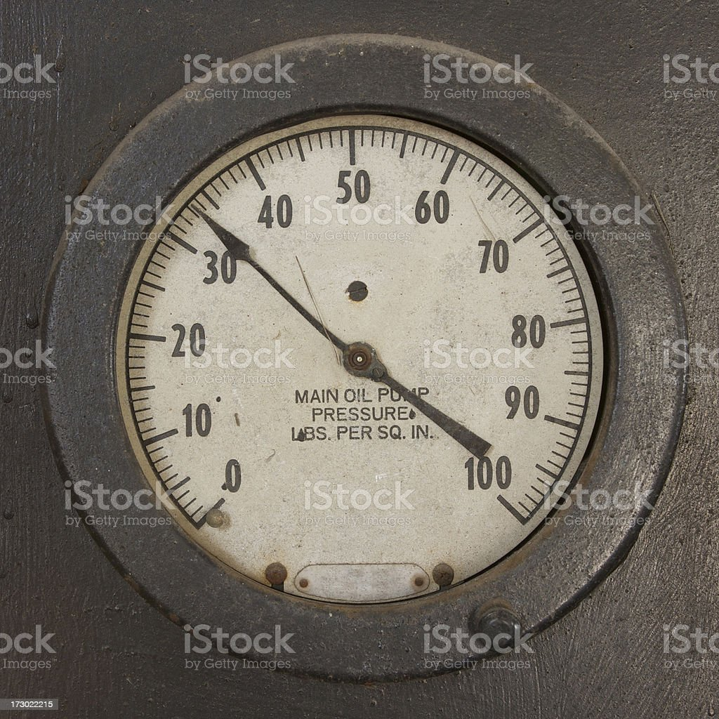 oil pump pressure gauge stock photo