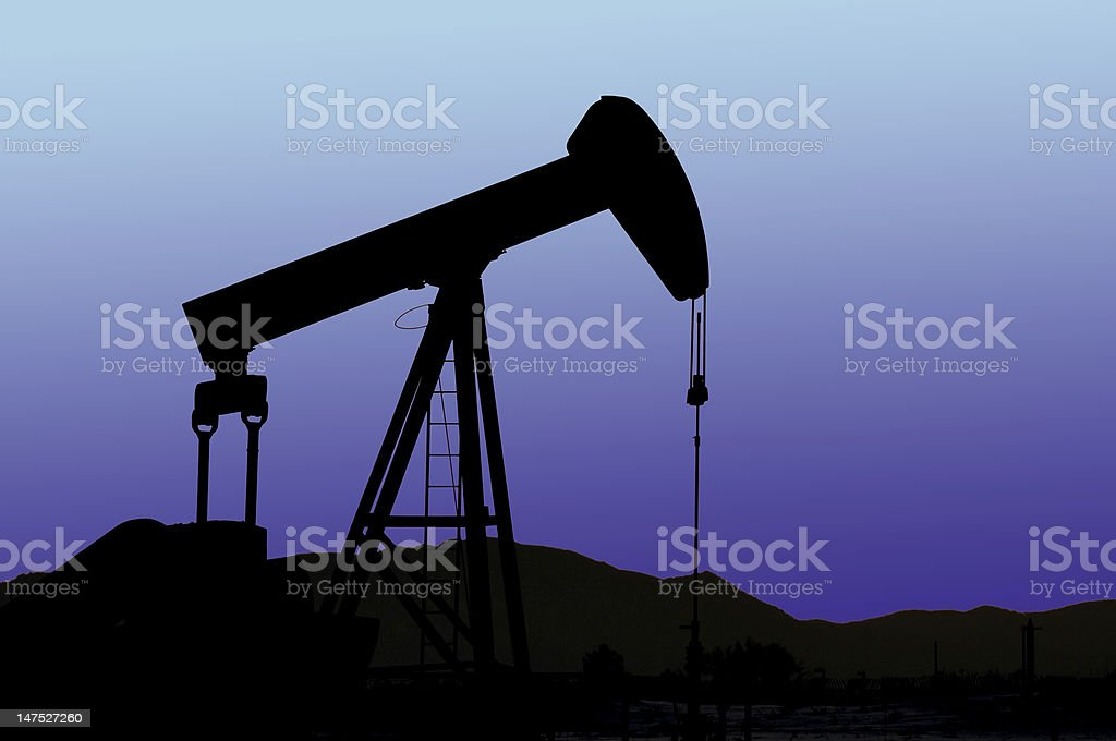 Oil Pump silhouetted stock photo