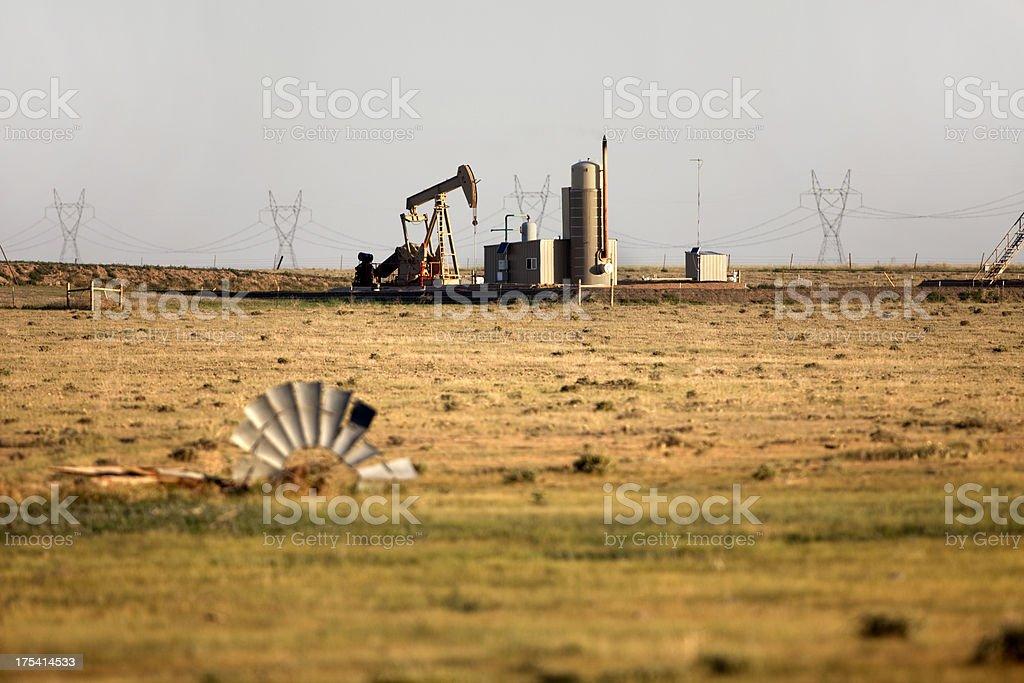 Oil pumper on Pawnee National Grasslands Colorado stock photo