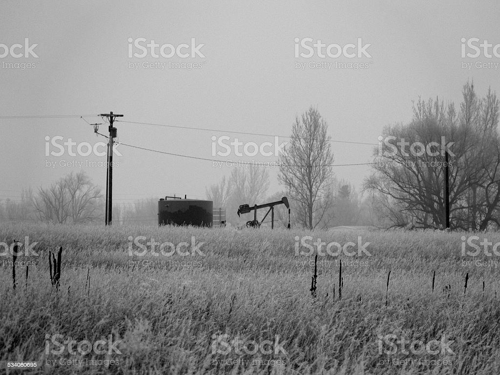 Oil Pumpjack in Colorado stock photo
