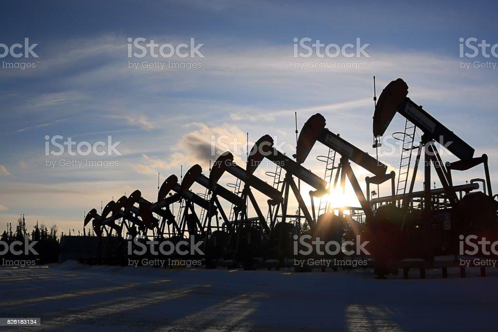 Oil Pumpjack Pumping Oil stock photo