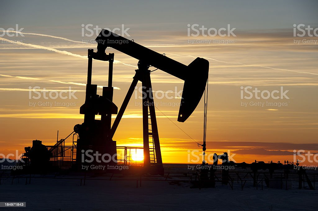 Oil Pumpjack Silhouette royalty-free stock photo