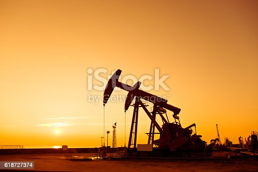 Oil pumps and rig at sunset