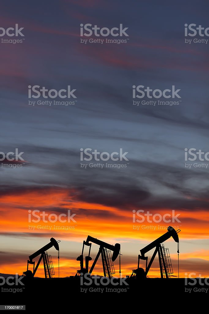 Oil Pumps at Dusk stock photo