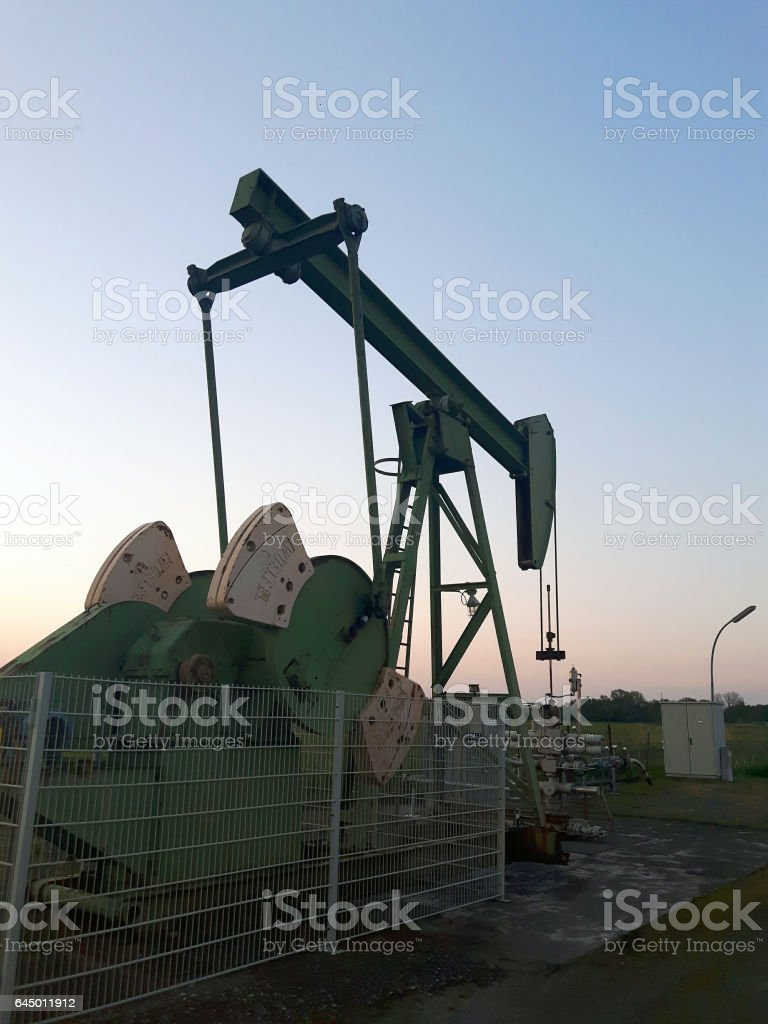 Oil pumps. Oil industry equipment in germany stock photo
