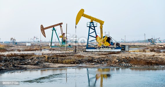 Oil pumps working by the river