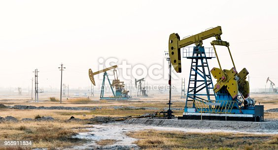 Oil pumps working under the sky