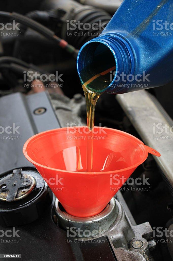 Oil refill stock photo