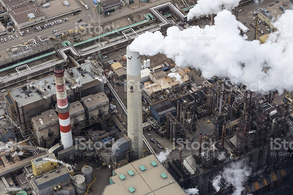 Oil Refinery, Aerial Photo Close-up aerial photo of an oil refinery in the Alberta Oilsands, near Fort McMurray. Aerial View Stock Photo