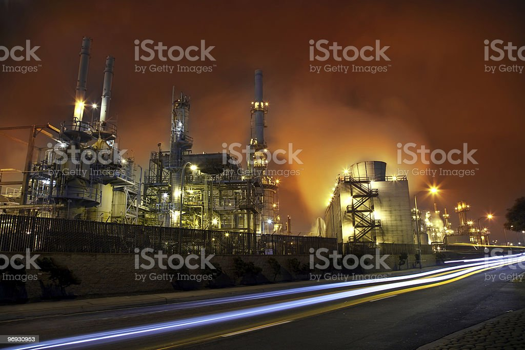 Oil Refinery and A road royalty-free stock photo