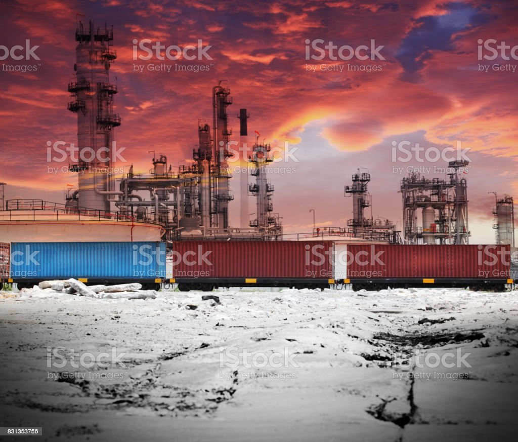 oil refinery and container shipping on daylight stock photo