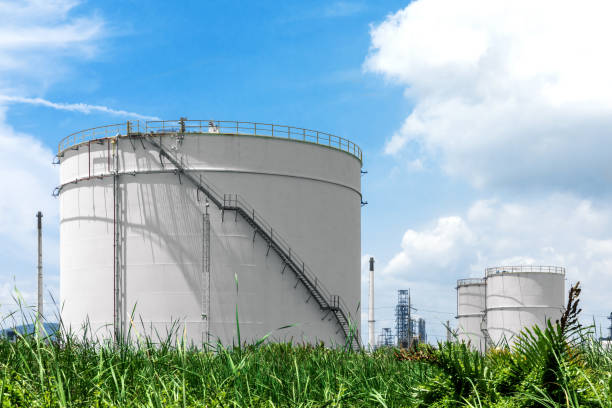 Oil refinery and Oil industry under blue sky stock photo
