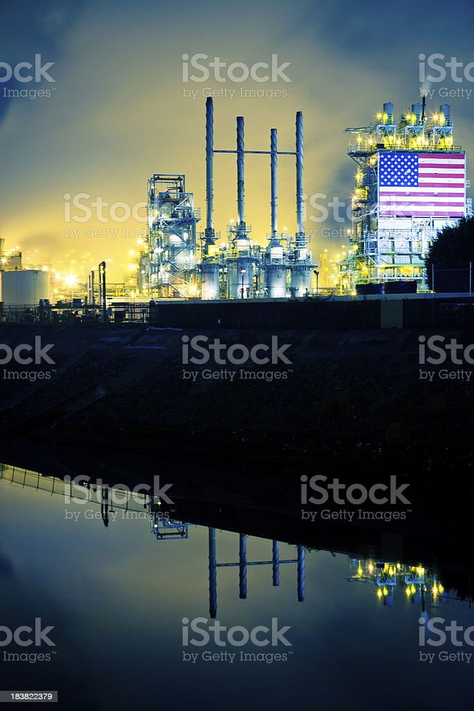 Oil Refinery and Stagnant River stock photo