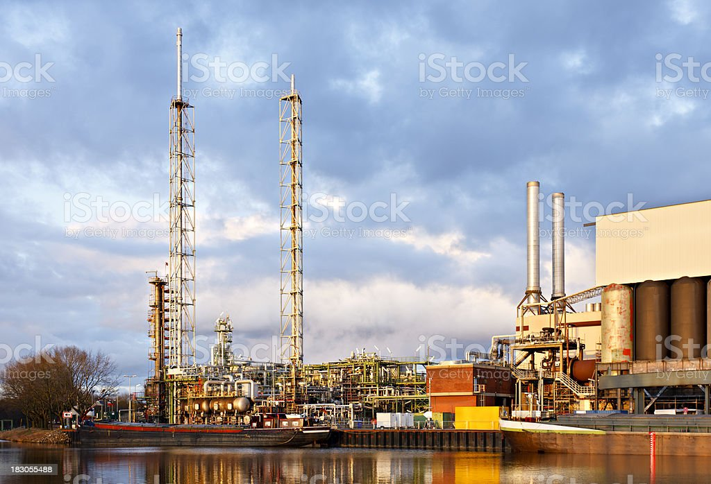Oil Refinery At Canal royalty-free stock photo