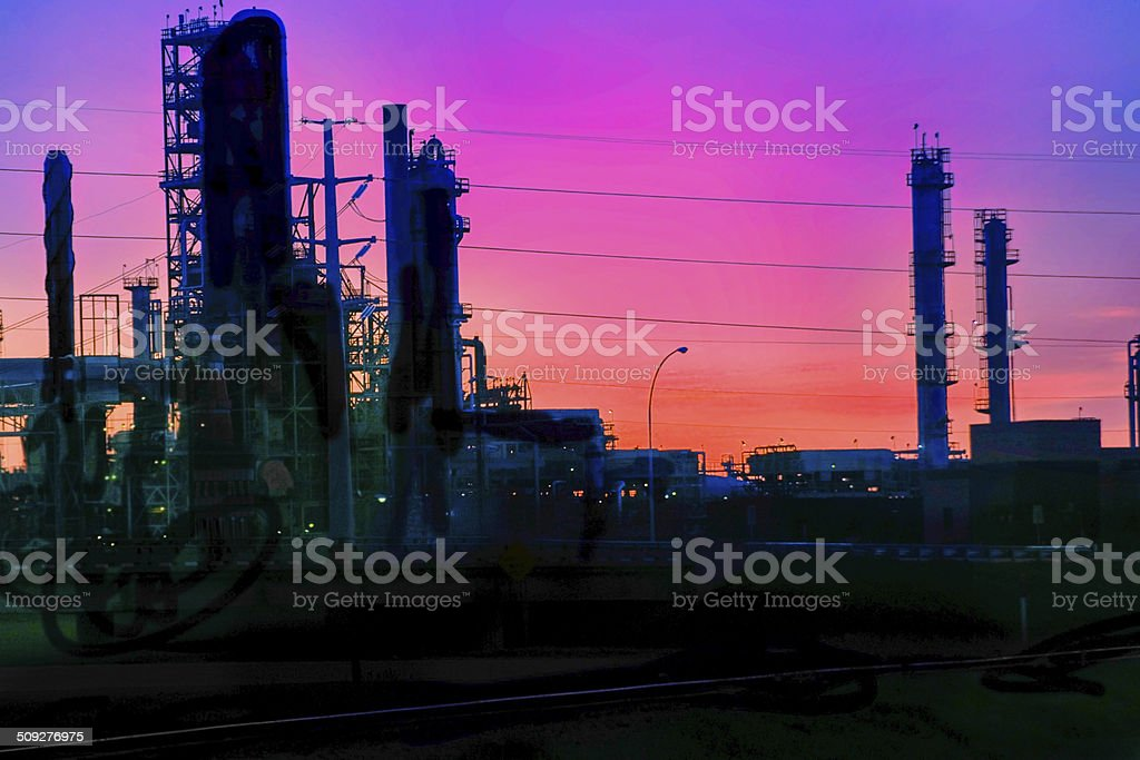 Oil refinery at dusk in Minnesota royalty-free stock photo