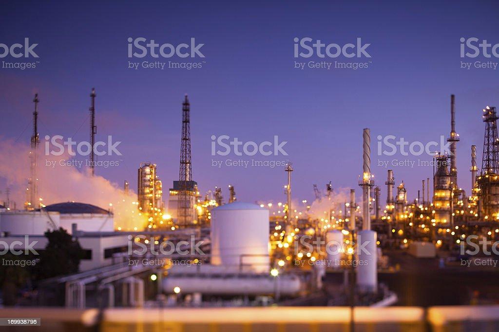 Oil Refinery at Dusk (Tilt-Shift) stock photo