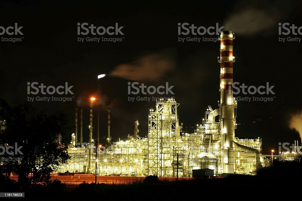Oil refinery at night royalty-free stock photo