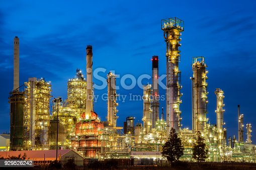Petrochemical plant at night in Netherlands