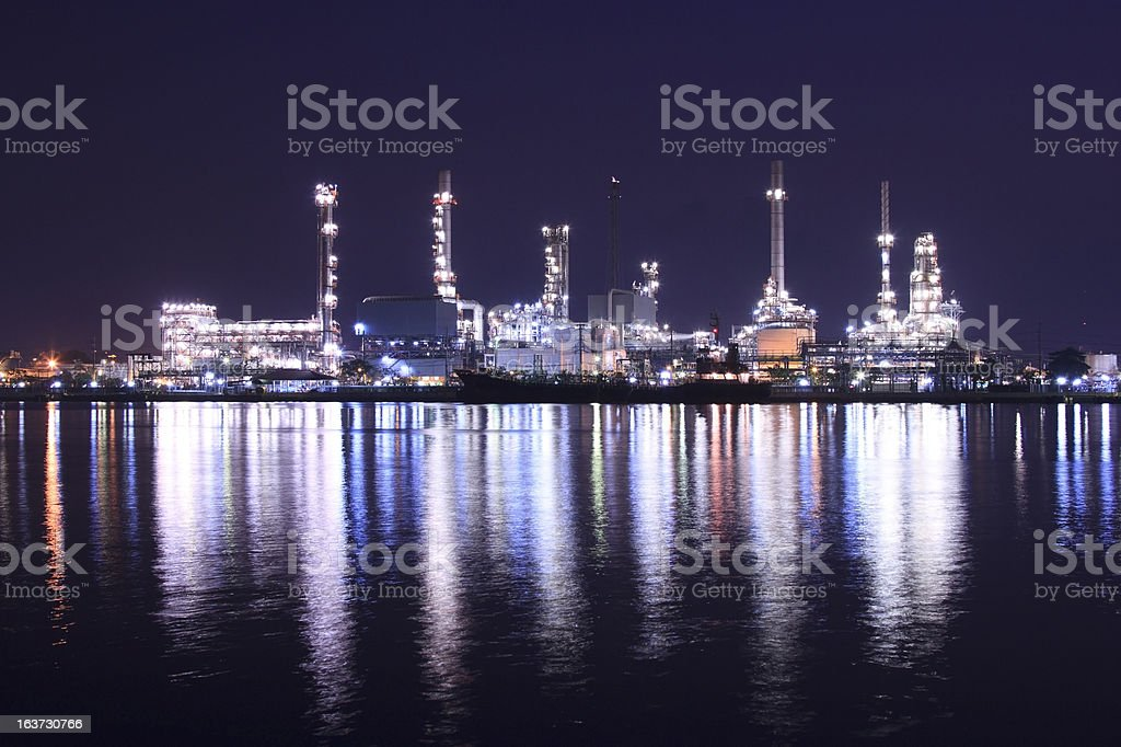 Oil refinery at nigth stock photo