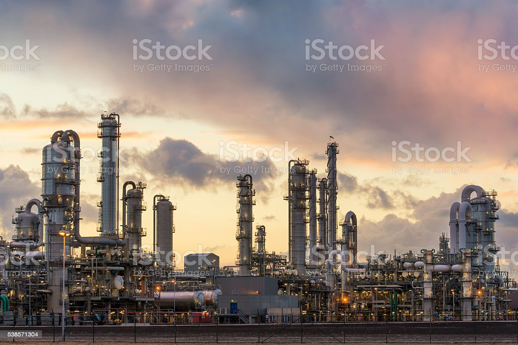 Oil refinery at the harbor in Rotterdam, Netherlands stock photo