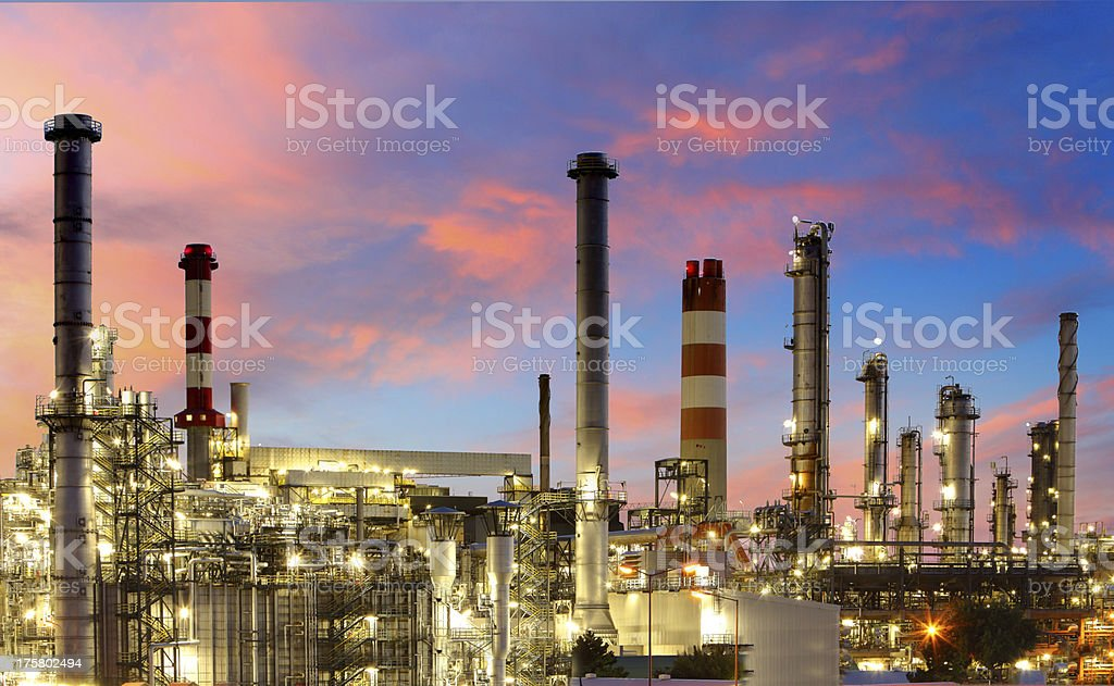 Oil refinery at twilight - factory. stock photo