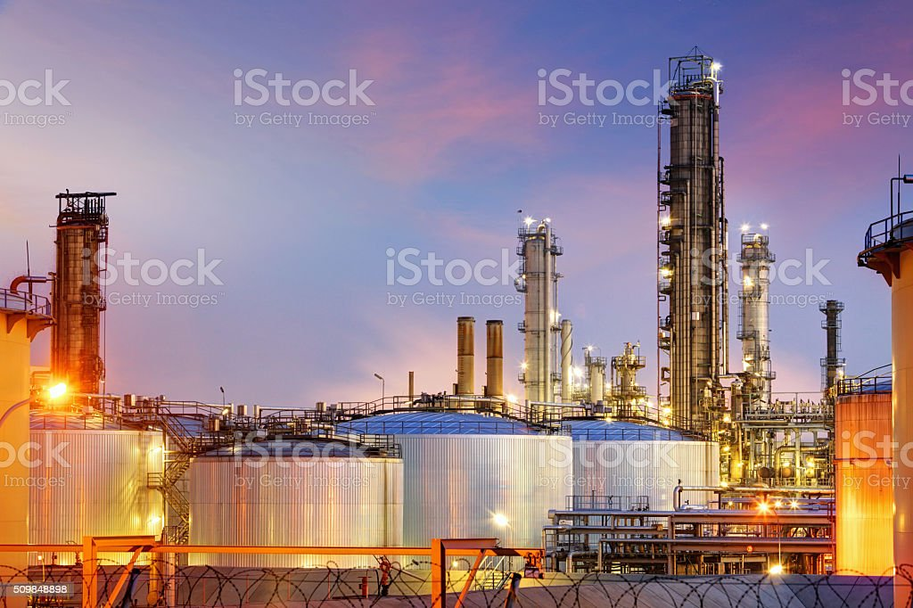 Oil refinery at twilight stock photo