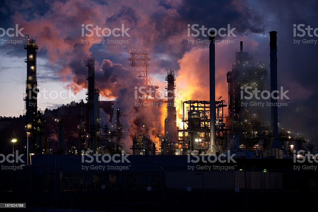 Oil refinery burning off natural gas royalty-free stock photo