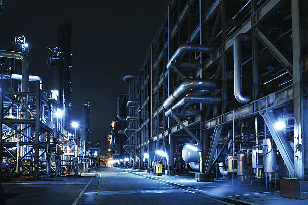 Oil Refinery, Chemical & Petrochemical plant Oil Refinery, Chemical & Petrochemical plant abstract at night. chemical plant stock pictures, royalty-free photos & images