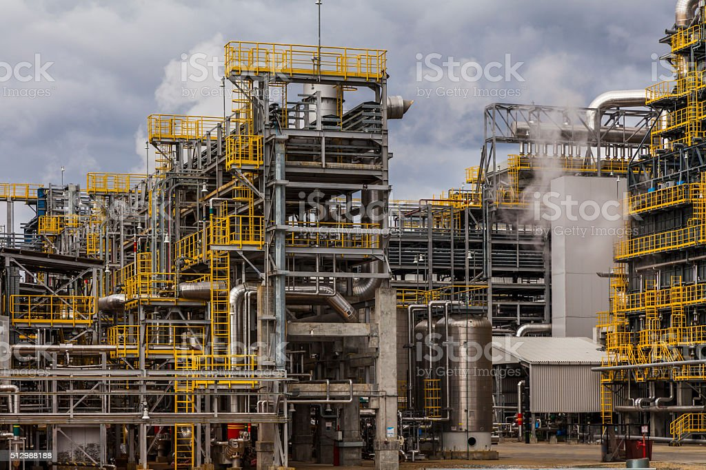 Oil Refinery Factory At The Cloudy Sky Petrochemical Plant Stock